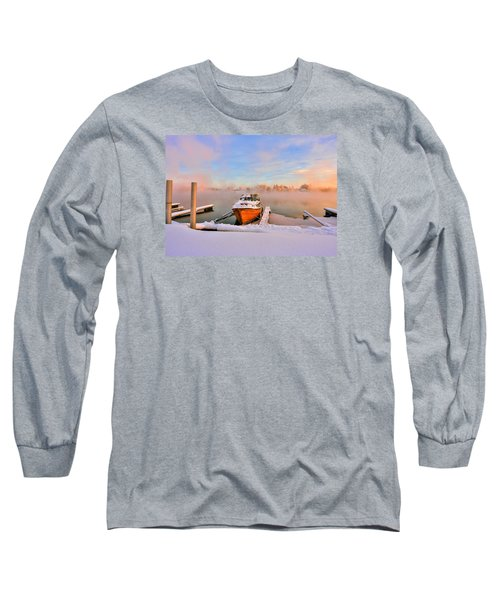 Boat On Frozen Lake Long Sleeve T-Shirt by Rose-Maries Pictures