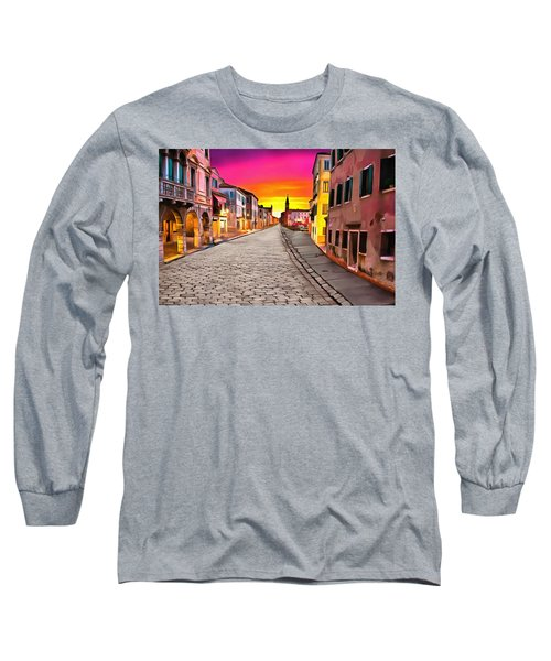 A Cobblestone Street In Venice Long Sleeve T-Shirt