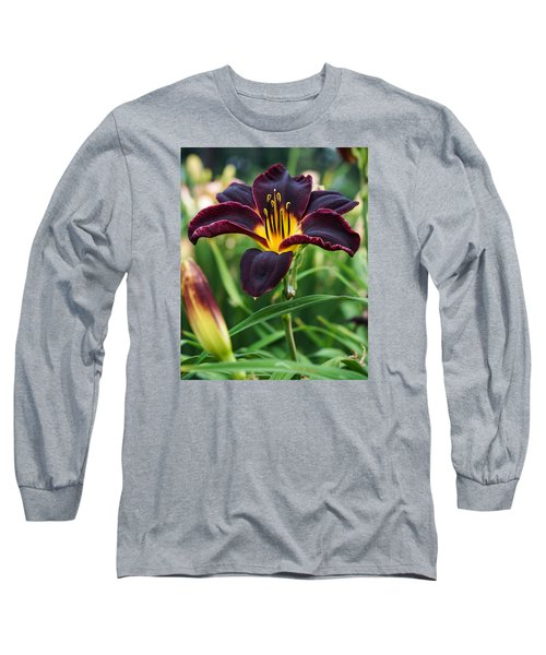 Long Sleeve T-Shirt featuring the photograph A Dark Purple Tiger Lilly by B Wayne Mullins