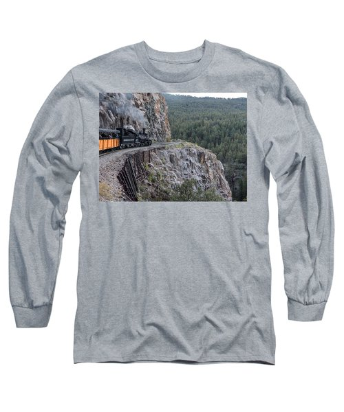 Long Sleeve T-Shirt featuring the photograph A Durango And Silverton Narrow Gauge Scenic Railroad Train Along A San Juan Mountains Precipice by Carol M Highsmith
