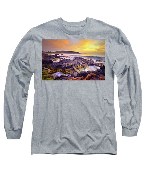 Long Sleeve T-Shirt featuring the photograph A Gentle Wave At Sunset by Tara Turner