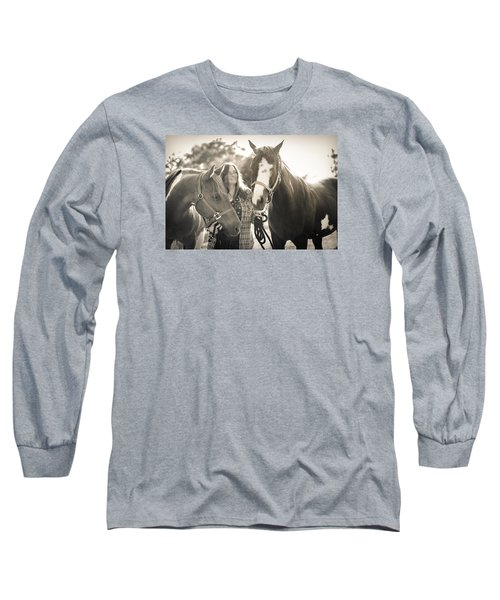 Long Sleeve T-Shirt featuring the photograph A Girl And Horses In The Sun Sepia by Kelly Hazel