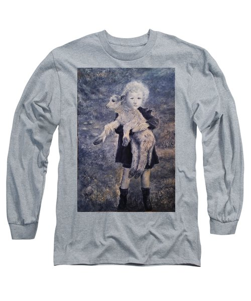 A Girl With A Lamb Long Sleeve T-Shirt