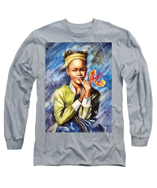 A Girl With Yellow Poinciana Long Sleeve T-Shirt