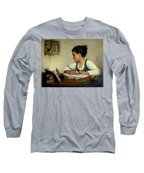 A Girl Writing. The Pet Goldfinch Long Sleeve T-Shirt