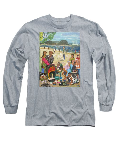 Long Sleeve T-Shirt featuring the painting A Heavenly Day - Lumley Beach - Sierra Leone by Mudiama Kammoh