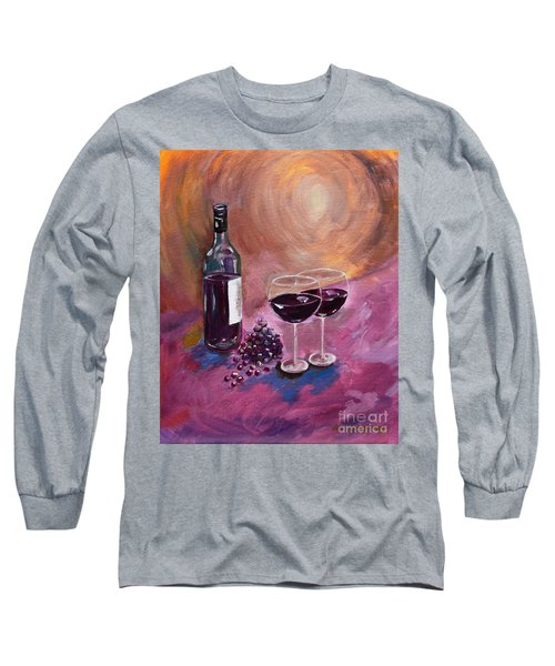 A Little Wine On My Canvas - Wine - Grapes Long Sleeve T-Shirt