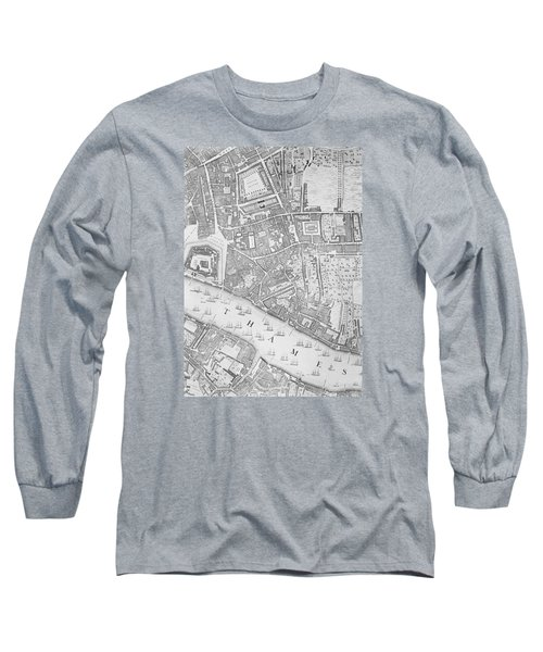 A Map Of The Tower Of London Long Sleeve T-Shirt by John Rocque