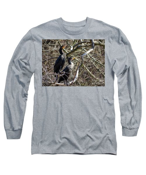 A Pair Of Cormorants Long Sleeve T-Shirt by Melissa Messick