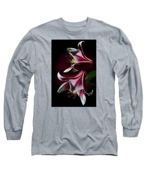 Long Sleeve T-Shirt featuring the photograph A Pair Of Lilies by Judy  Johnson
