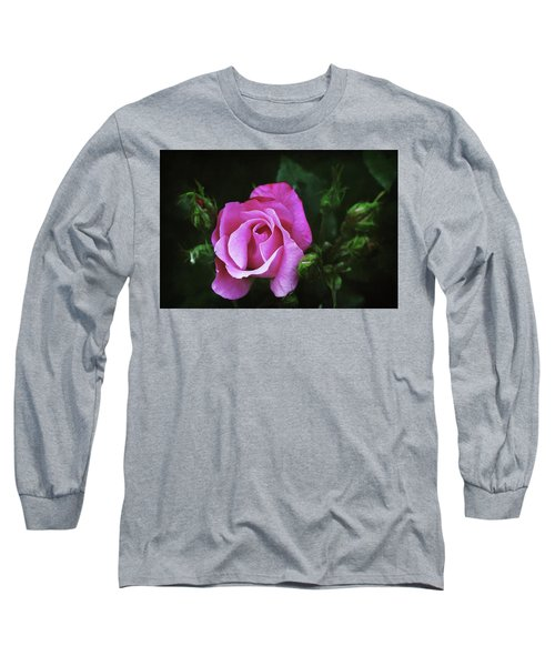 A Pink Rose Long Sleeve T-Shirt by Trina Ansel