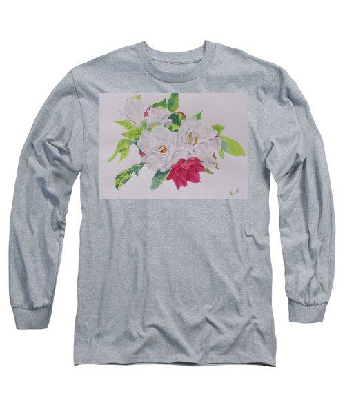 Long Sleeve T-Shirt featuring the painting A Rose Bouquet by Hilda and Jose Garrancho