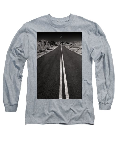 A Road With A Moon  Long Sleeve T-Shirt