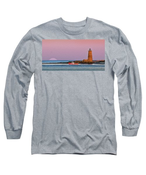 A Ship Passes The Super Moon And Whaleback Long Sleeve T-Shirt