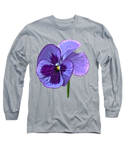 A Single Purple Pansy On A Transparent Background Long Sleeve T-Shirt