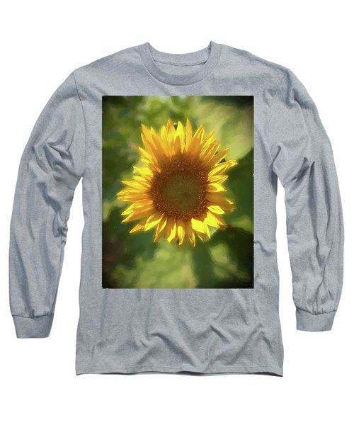 A Single Sunflower Showing It's Beautiful Yellow Color Long Sleeve T-Shirt