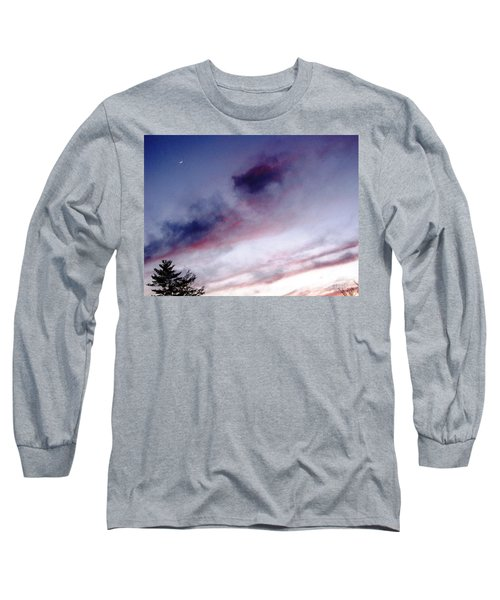 Long Sleeve T-Shirt featuring the photograph A Sliver Of Moon by Melissa Stoudt
