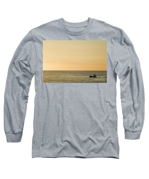 A Small Fishing Boat In Sunset Over Cardigan Bay Aberystwyth Ceredigion West Wales Long Sleeve T-Shirt