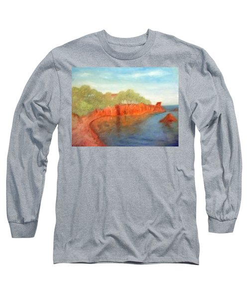 A Small Inlet Bay With Red Orange Rocks Long Sleeve T-Shirt