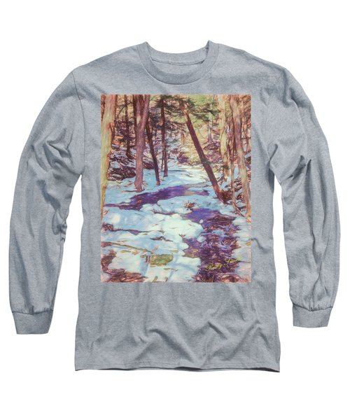 A Small Stream Meandering Through Winter Landscape. Long Sleeve T-Shirt