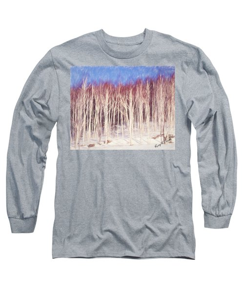 A Stand Of White Birch Trees In Winter. Long Sleeve T-Shirt