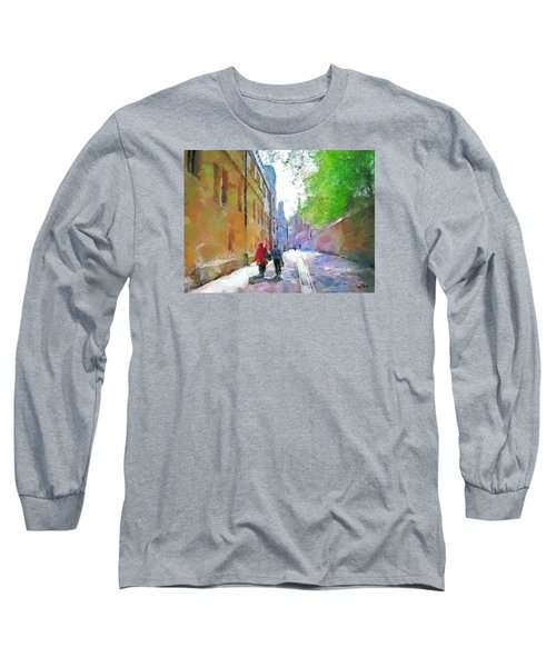 Long Sleeve T-Shirt featuring the painting A Stroll In The Alley by Wayne Pascall