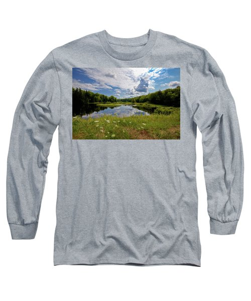 Long Sleeve T-Shirt featuring the photograph A Summer Morning At The Bridge by David Patterson