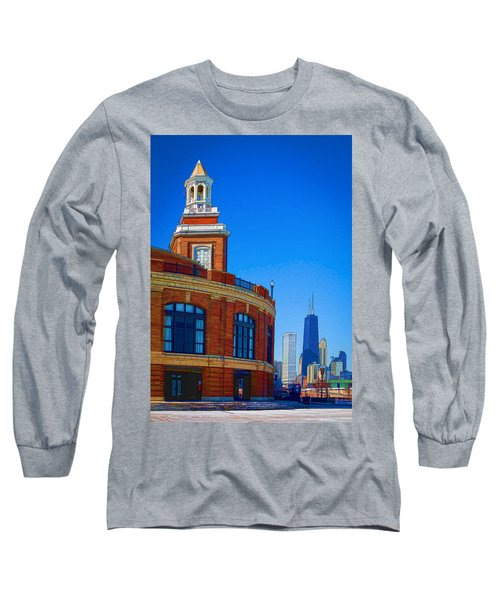 A Textured Navy Pier Long Sleeve T-Shirt