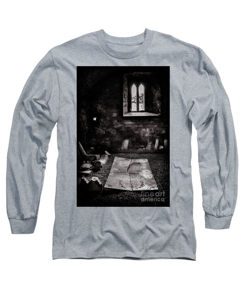 Long Sleeve T-Shirt featuring the photograph A Tombstone In Sligo Abbey Bw by RicardMN Photography