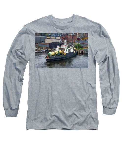 Long Sleeve T-Shirt featuring the photograph A Train Ferry In St Petersburg Carrying Freight by Clare Bambers