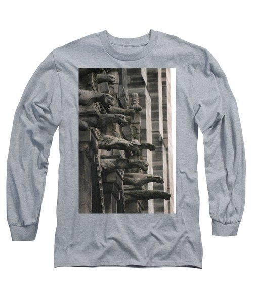 Long Sleeve T-Shirt featuring the photograph A Wall Of Gargoyles Notre Dame Cathedral by Christopher Kirby
