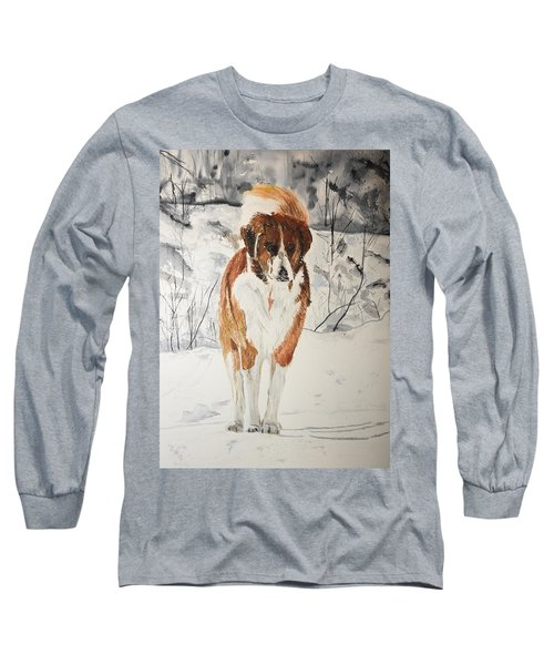 A Winter Walk Long Sleeve T-Shirt by Betty-Anne McDonald