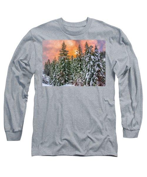 A Winters Sky Set Ablaze Long Sleeve T-Shirt
