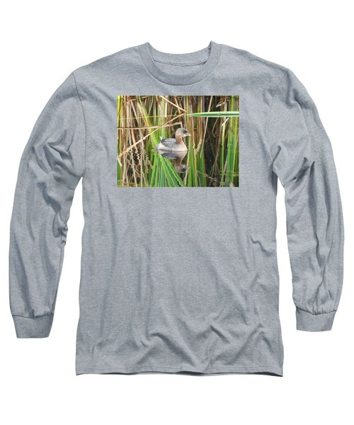 Long Sleeve T-Shirt featuring the photograph A Young Pied-billed Grebe And Its Reflection by Janice Adomeit