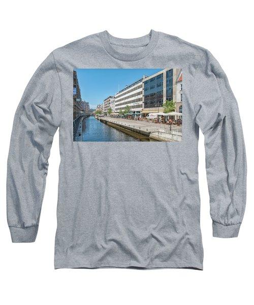 Long Sleeve T-Shirt featuring the photograph Aarhus Canal Activity by Antony McAulay