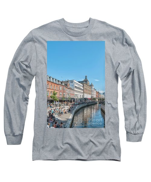 Long Sleeve T-Shirt featuring the photograph Aarhus Summertime Canal Scene by Antony McAulay