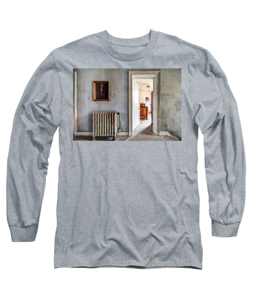 Long Sleeve T-Shirt featuring the photograph abandoned Jesus - urban exploration by Dirk Ercken
