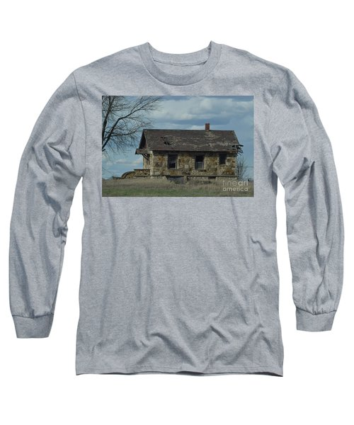 Long Sleeve T-Shirt featuring the photograph Abandoned Kansas Stone House by Mark McReynolds