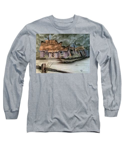 Long Sleeve T-Shirt featuring the drawing Abandoned by Terri Mills