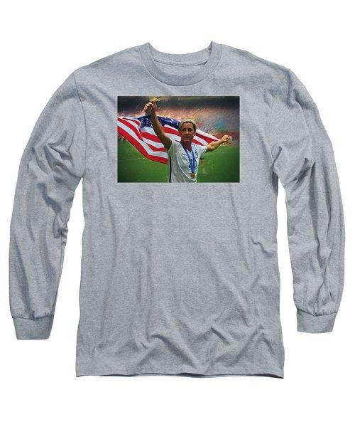 Abby Wambach Us Soccer Long Sleeve T-Shirt by Semih Yurdabak