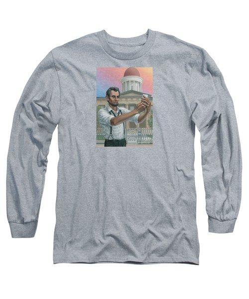Long Sleeve T-Shirt featuring the painting Abe's 1st Selfie by Jane Bucci
