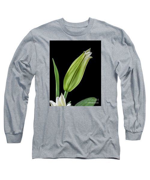 White Oriental Lily About To Bloom Long Sleeve T-Shirt by David Perry Lawrence