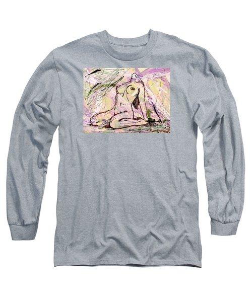 Absorbing Woman  Long Sleeve T-Shirt by Erika Pochybova