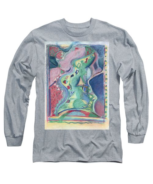 Long Sleeve T-Shirt featuring the painting Abstract 92 - Inner Landscape by Kerryn Madsen- Pietsch