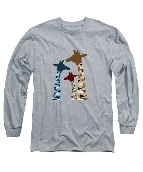 Abstract Colored Giraffe Family Long Sleeve T-Shirt by Brigitte Carre