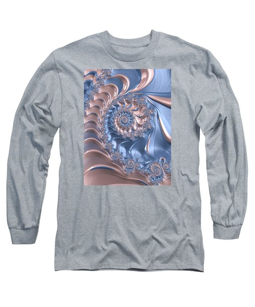 Abstract Fractal Art Rose Quartz And Serenity  Long Sleeve T-Shirt