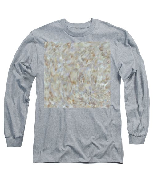Long Sleeve T-Shirt featuring the mixed media Abstract Gold Cream Beige 6 by Clare Bambers