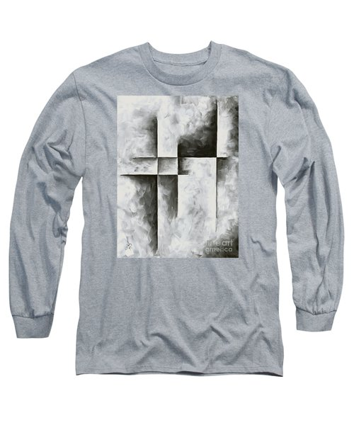 Abstract Gray Minimalist Contemporary Pop Art Painting Burnished Iv By Madart Long Sleeve T-Shirt
