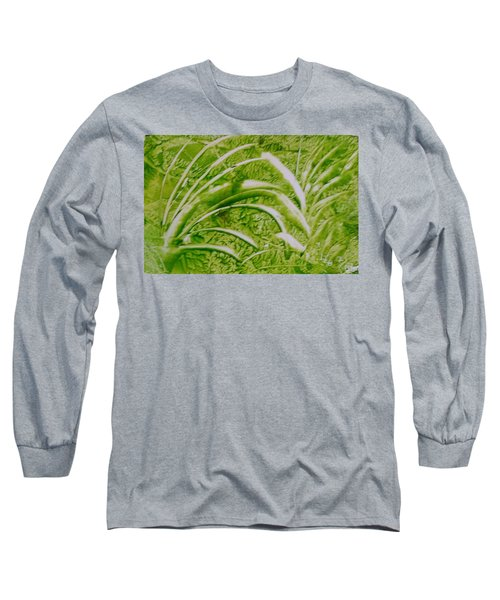 Abstract Green And White Leaves And Grass Long Sleeve T-Shirt