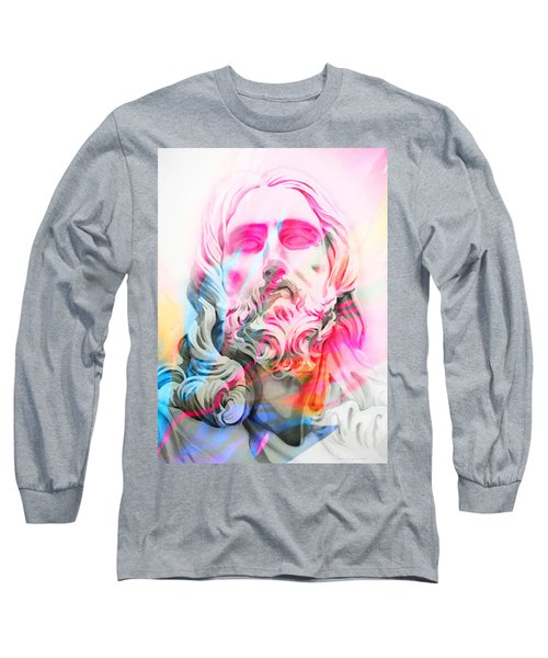 Long Sleeve T-Shirt featuring the painting Abstract Jesus 4 by J- J- Espinoza